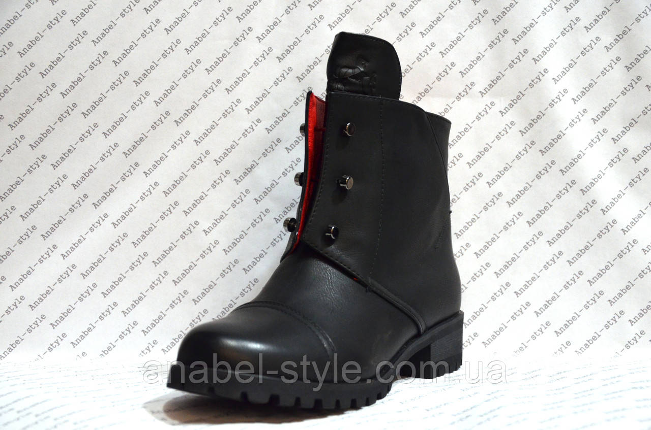 Ботинки женские стильные эко кожа черные Код 273