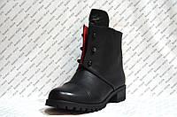 Ботинки женские стильные эко кожа черные