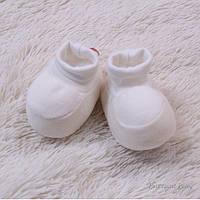 Пинетки для новорожденных, айвори, велюровые,