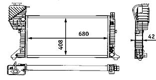 Радиатор охлаждения Mercedes Sprinter 1997-2006 (208-412 АКП AC+) 680*408*42мм по сотах KEMP