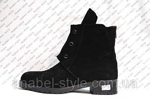 Ботинки женские из натуральной замши низкий ход на заклепках черные Код 274, фото 2