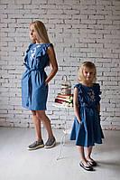 """Платье """"Колибри с розами"""" в стиле family look"""