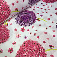 Бязь,100% хлопок  одуванчики розового цвета на белом фоне №582