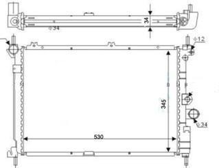 Радиатор охлаждения Opel Astra F (1.5TDS 1.7D-TD) 530*350мм по сотах KEMP
