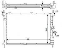 Радиатор Opel Astra F Kadett 1,5 TDS1.7 D TD 530*350 1300103
