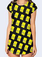 """Женская прикольная туника """"Барт"""" для поклонниц мультсериала """"Симпсоны""""."""