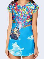 """Женская туника """"Воздушные Шары Вверх"""" с ярким рисунком/принтом полуприлегающего силуэта на лето."""