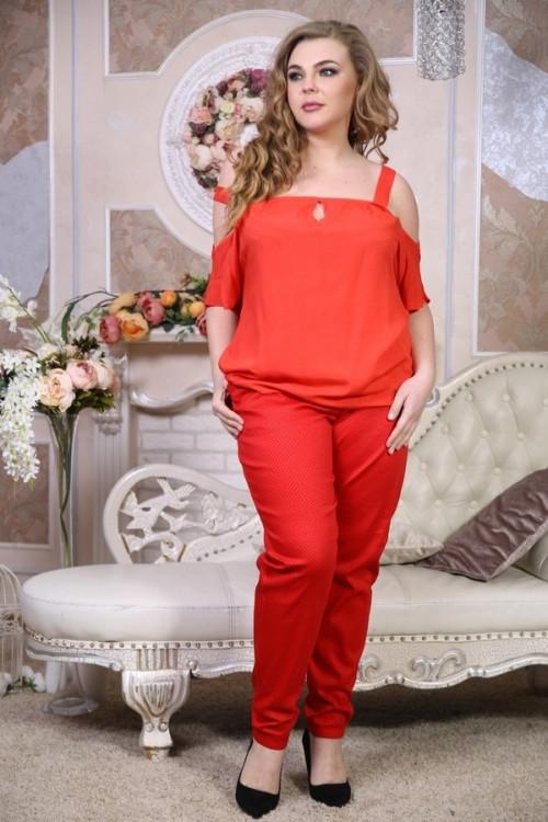 """Брюки Чинос красный горох большого размера 48-94 батал - TM """"Ola-La"""" - качественная одежда от производителя в Виннице"""