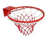 Кольцо баскетбольное (d кольца-46,5 см, d трубы-12 мм, в ком.кольцо-металл, сетка-нейлон,болты)