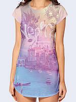 """Элегантная футболка-туника из приятного трикотажа с эластаном """"Венеция"""" для повседневной носки."""