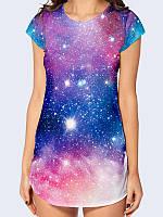 Женская туника с обворожительным рисунком Вселенной из легкой ткани, размеры 42-50.