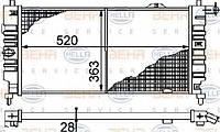 Радиатор Opel Kadett 1.6-1.7D 520*370 1300124
