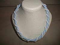 """Вязаный нежно-голубой  жгут из бисера """"Нежность"""", фото 1"""