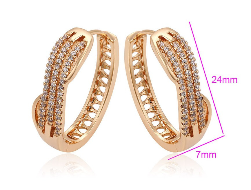 Серьги позолота, Массивные кольца с россыпью циркония