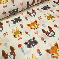 Польская бязь, детская ткань лисички-собачки на молочном  фоне №574