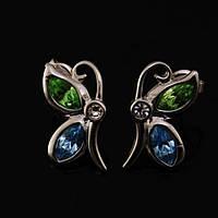 Необыкновеные серьги Сваровски с бабочками