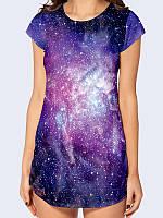 Женская туника/футболка 3D Далекая Галактика с ярким космическим принтом из легкой ткани на лето 2017.