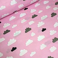 Польский хлопок белые и серые облака на розовом фоне №588