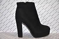 Ботильоны женские модные на высоком каблуке эко замша чёрные