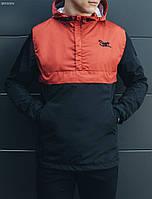 Мужская весенняя ветровка, анорак STF Gravity Red Black черный легкий (спортивные ветровки)