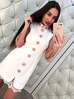 Женское стильное платье с камнями и кружевом (2 цвета), фото 1