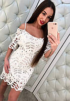 Женское стильное кружевное платье с открытыми плечиками (2 цвета)