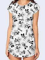 Классная туника Микки Маус Дисней с принтом милого мышонка. Отличный выбор для создания эффектного образа.