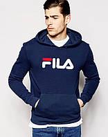 Модная темно-синяя толстовка с принтом Fila Фила Худи
