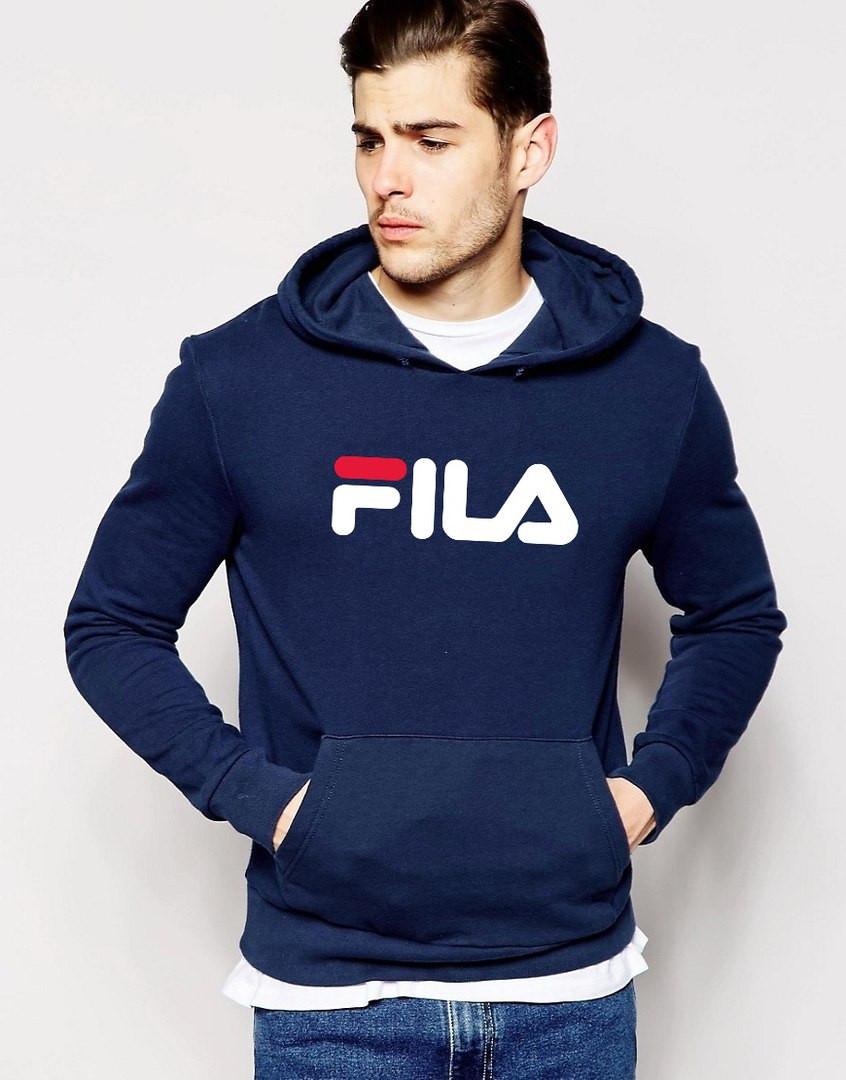 Модная темно-синяя толстовка с принтом Fila Фила Худи - Интернет Магазин