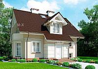 MX114. Современный дом с мансардой и с эркером