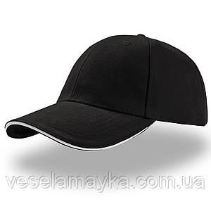 Черная кепка-сэндвич с белой вставкой