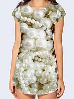 """Женская модная 3D футболка-туника с красочным принтом/рисунком """"Жемчуг"""" из легкой ткани на лето/весну."""