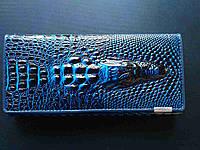 """Кожаный женский кошелёк натуральная кожа Крокодил""""CROCODILE"""". ALLIGATOR.клатч,бумажник.портмоне синий с черным"""