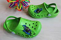 Зеленые кроксы для мальчика с супергероем тм Vitaliya р.32-35