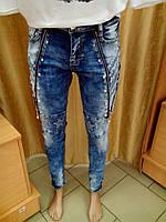 Модные джинсы женские со змейкой и заклепками