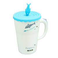 """Кружка-чашка с силиконовой крышкой  """"Дельфин"""" 350 мл (4 вида)"""