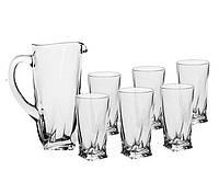 Набор для сока / воды 6 стаканов + графин (7пр.) BOHEMIA quadro