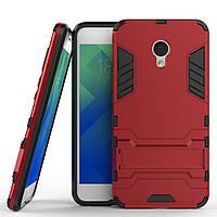 Чехол накладка для Meizu M5 противоударный силиконовый с пластиком Alien, с подставкой, Красный