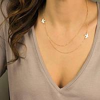 Ожерелье из серебра 925 пробы в позолоте 999.9 Две птицы