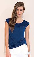 Женская летняя блуза синего цвета с коротким рукавом. Модель Lonnie Zaps, коллекция весна-лето 2017.