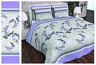 Півтораспальний постільний комплект - Піон блакитний