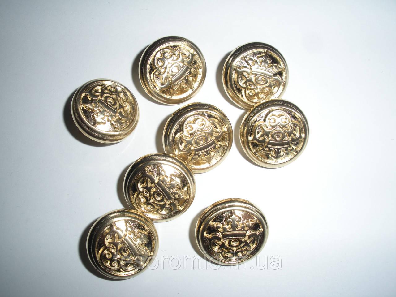 """Пуговица металлическая на ножке """"корона-вензель"""", золото, 18мм диаметр, L 28"""