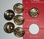 """Пуговица металлическая на ножке """"корона-вензель"""", золото, 18мм диаметр, L 28, фото 4"""
