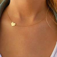 Тонкое ожерелье Сердце из серебра 925 пробы в позолоте 999.9