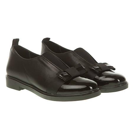 Туфли женские Оlli (кожаные, черные, сочетание кожи и лака, удобные, модные)