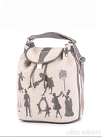 Льняная сумка-рюкзак от Alba Soboni в этно стиле.