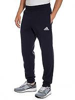 Спортивные брюки  Адидас (Adidas) мужские трикотажные темно синие на резинке внизу (манжет) Украина