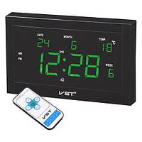 Часы электронные светодиодные VST 771 T-4: зелёное свечение, будильник, термометр, пульт ДУ