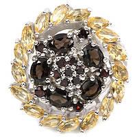 Серебряное Кольцо с Натуральными Гранатами Цитринами и Раухтопазами