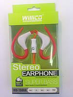 Наушники гарнитура Willico MD-1506 Red-White Sport